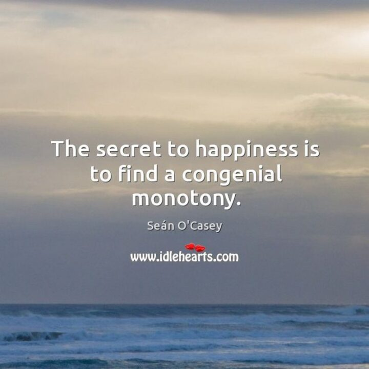 """""""The secret of happiness is to find a congenial monotony."""" - V.S. Pritchett"""
