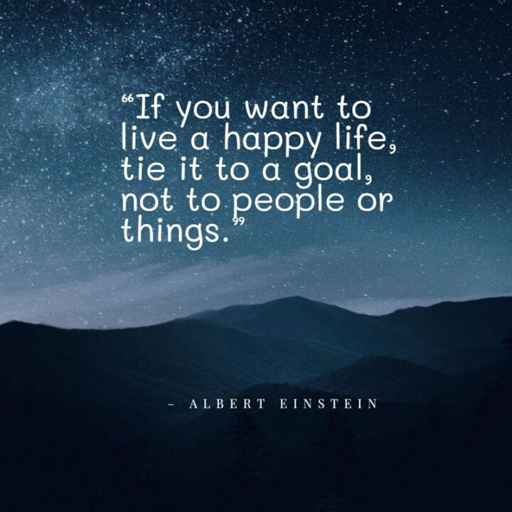 """""""If you want to live a happy life, tie it to a goal, not to people or things."""" - Albert Einstein"""