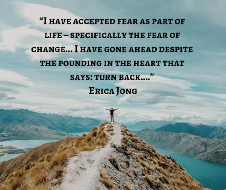 """51 Sad Quotes About Life - """"I have accepted fear as part of life - Specifically the fear of change...I have gone ahead despite the pounding in the heart that says: Turn back..."""" - Erica Jong"""