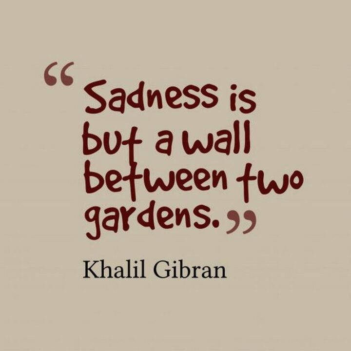 """51 Sad Quotes About Life - """"Sadness is but a wall between two gardens."""" - Kahlil Gibran"""