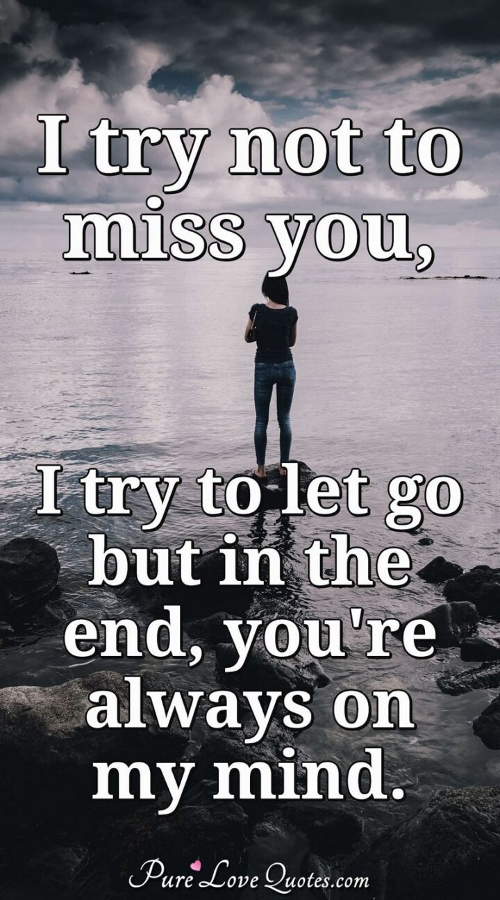 """""""I try not tomiss you, I try to let you go, but in the end, you're always on my mind."""""""