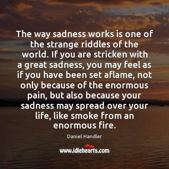 """""""The way sadness works is one of the strange riddles of the world. If you are stricken with a great sadness, you may feel as if you have been set aflame, not only because of the enormous pain but also because your sadness may spread over your life, like smoke from an enormous fire."""" - Lemony Snicket"""