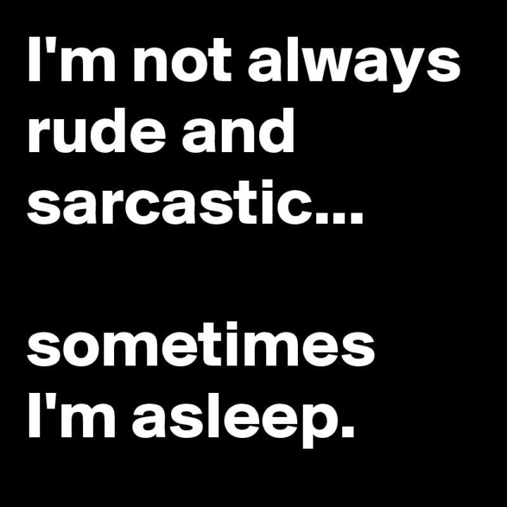 """""""I'm not always rude and sarcastic...Sometimes I'm asleep."""""""
