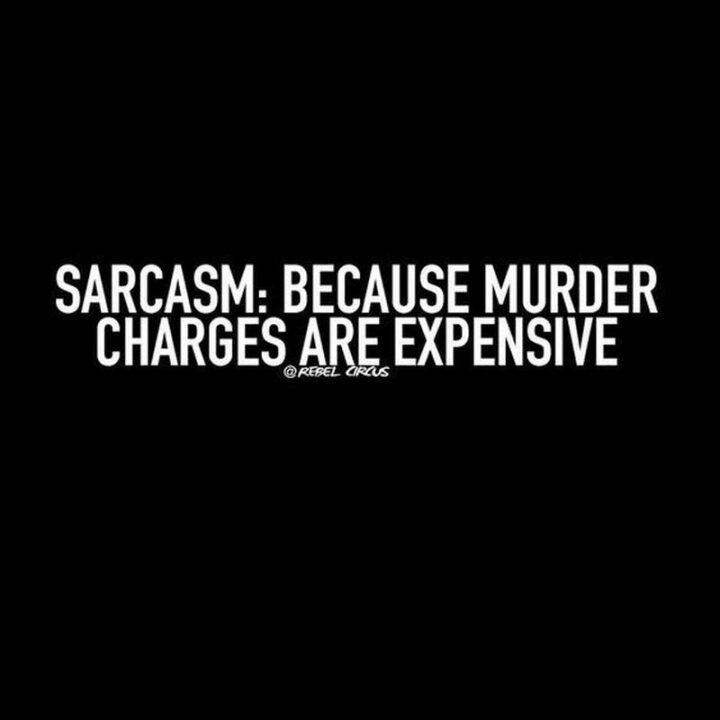 """67 Sarcastic Quotes - """"Sarcasm: Because murder charges are expensive."""""""