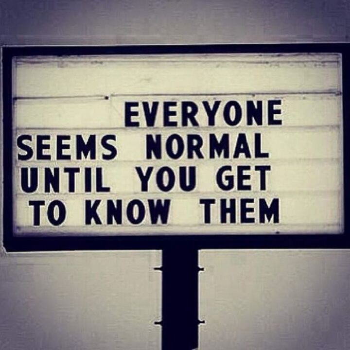 """67 Sarcastic Quotes - """"Everyone seems normal until you get to know them."""""""