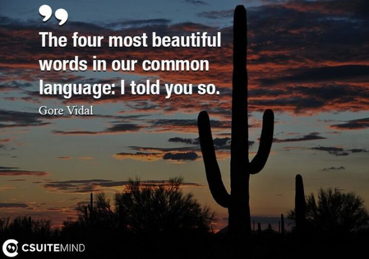 """""""The four most beautiful words in our common language: I told you so."""" - Gore Vidal"""