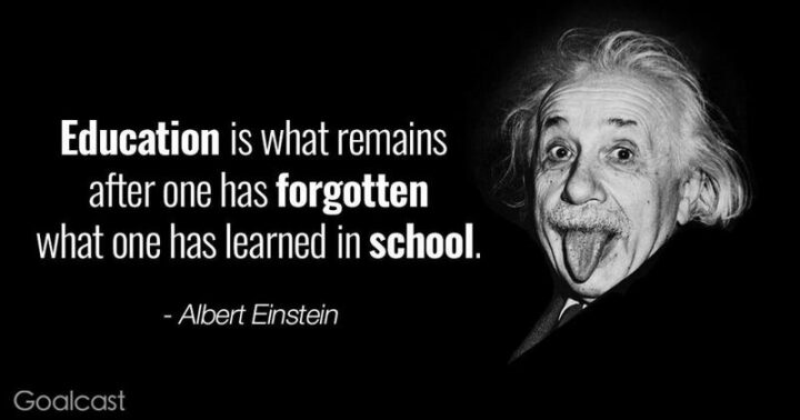 """""""Education is what remains after one has forgotten everything he learned in school."""" - Albert Einstein"""