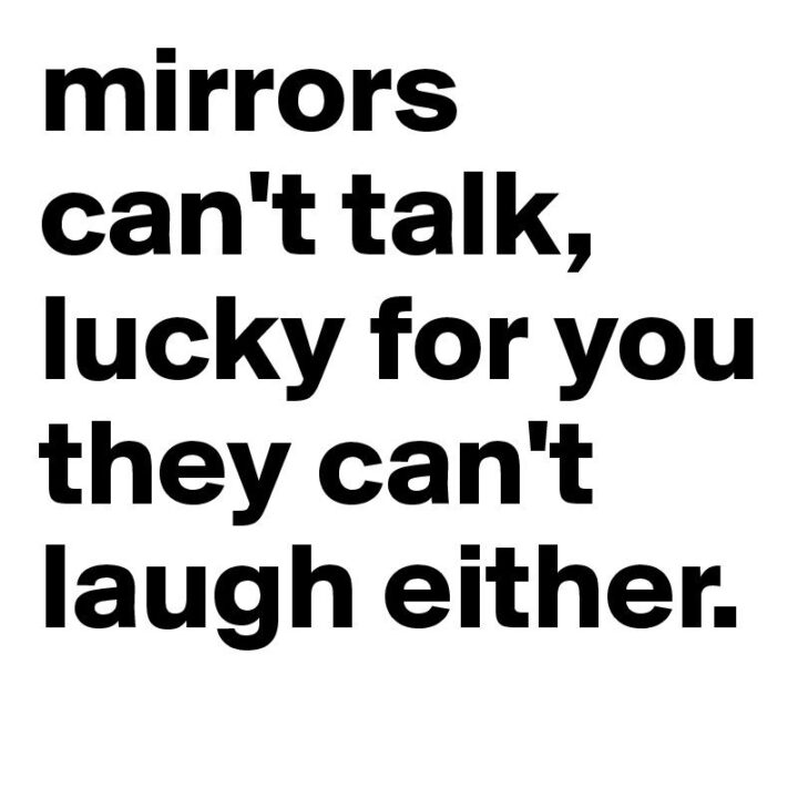 """""""Mirrors can't talk, lucky for you they can't laugh either."""""""