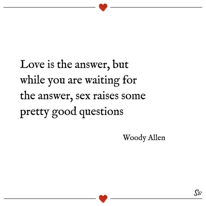 """""""Love is the answer, but while you're waiting for the answer, sex raises some pretty good questions."""" - Woody Allen"""