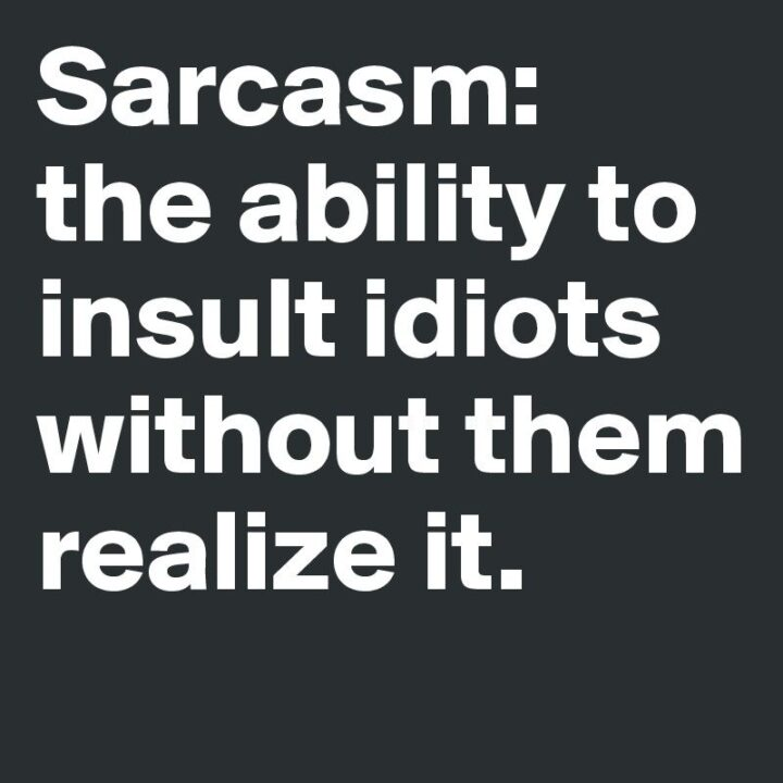 """""""Sarcasm - The ability to insult idiots without them realizing it."""""""
